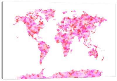 Love Hearts Map of the World Canvas Art Print