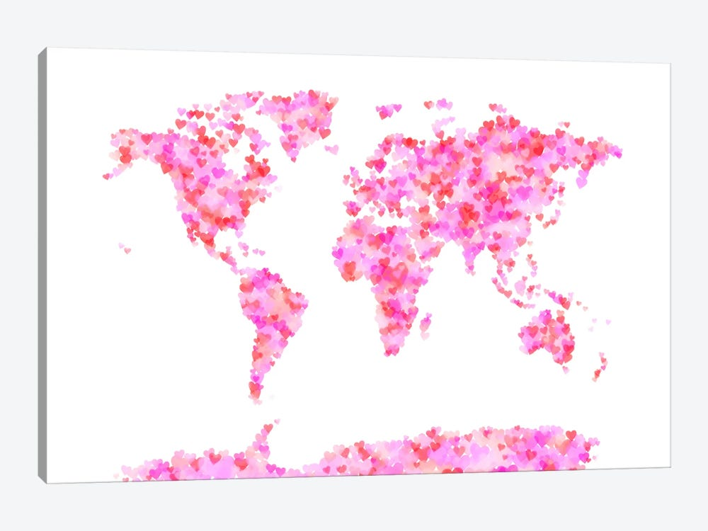 Love Hearts Map of the World by Michael Tompsett 1-piece Canvas Art Print