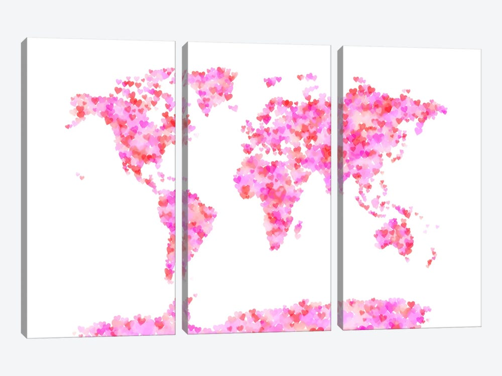 Love Hearts Map of the World by Michael Tompsett 3-piece Canvas Art Print