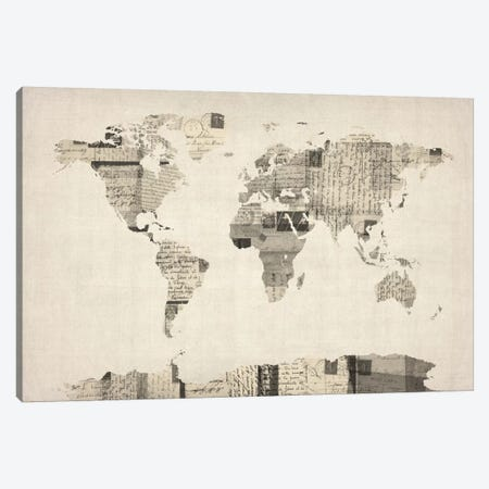 Vintage Postcard World Map Canvas Print #8788} by Michael Tompsett Canvas Print