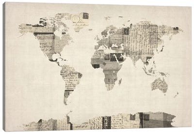 Vintage Postcard World Map Canvas Print #8788