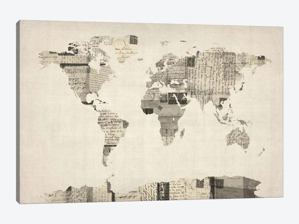 Vintage Postcard World Map by Michael Tompsett 1-piece Canvas Artwork
