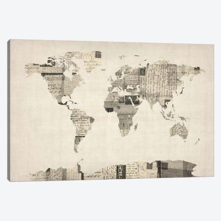Vintage Postcard World Map Canvas Print #8788} by Michael Tompsett Canvas Print