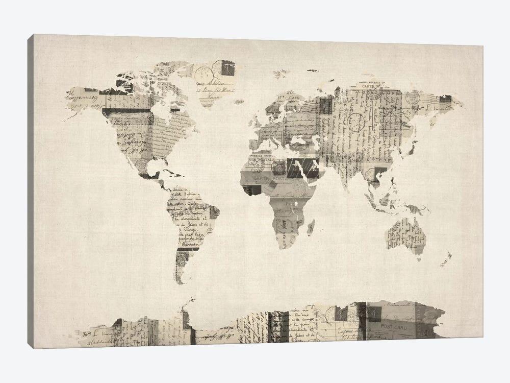 Vintage Postcard World Map by Michael Tompsett 1-piece Canvas Artwork