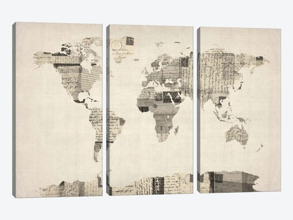 Vintage Postcard World Map by Michael Tompsett 3-piece Canvas Artwork