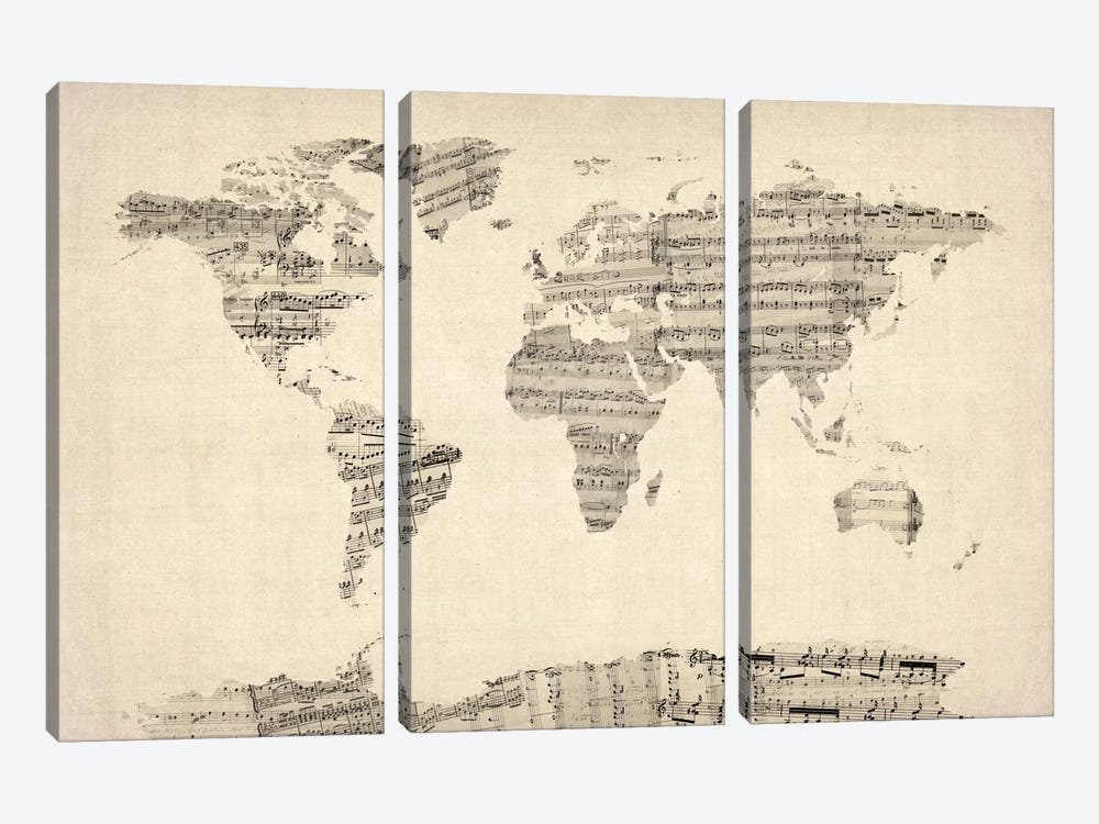 Old Sheet Music World Map by Michael Tompsett 3-piece Canvas Print