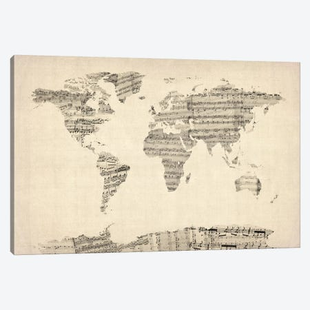 Old Sheet Music World Map Canvas Print #8789} by Michael Tompsett Canvas Print