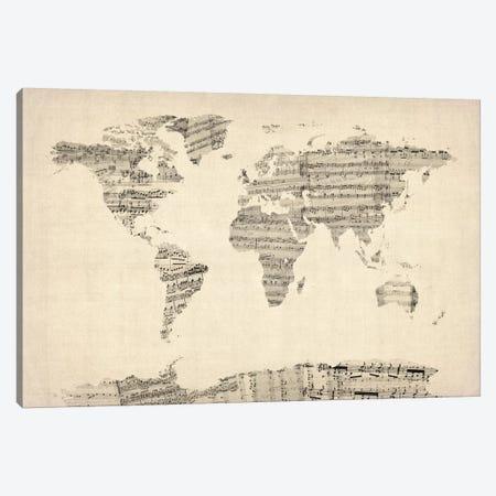 Old Sheet Music World Map Canvas Print #8789} by Michael Tompsett Canvas Print