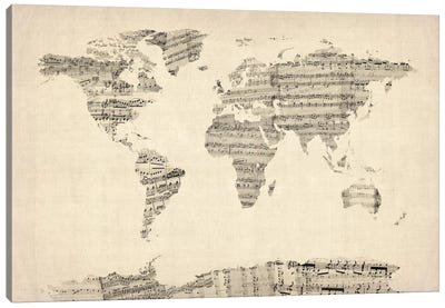Old Sheet Music World Map Canvas Art Print