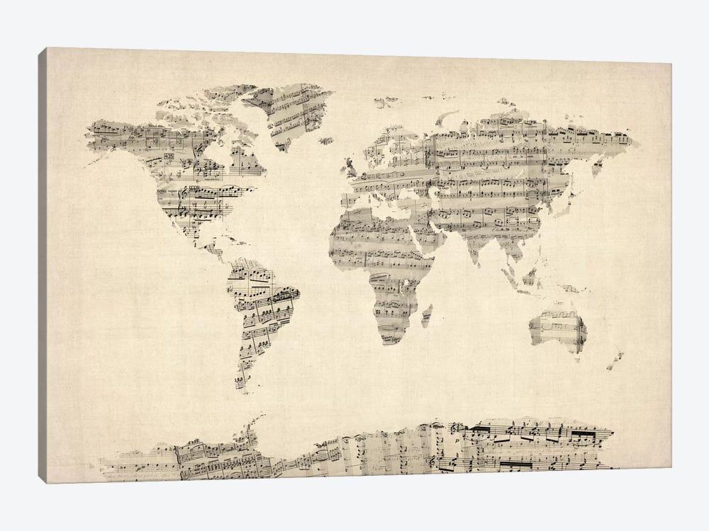 Old Sheet Music World Map by Michael Tompsett 1-piece Art Print