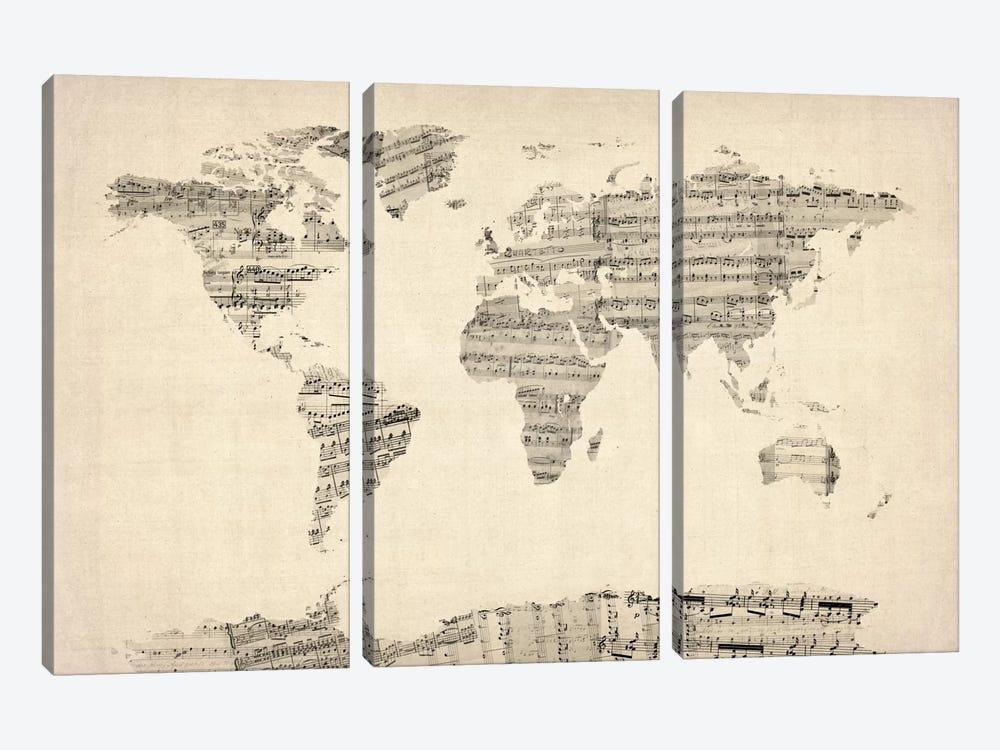 Old Sheet Music World Map by Michael Tompsett 3-piece Canvas Print