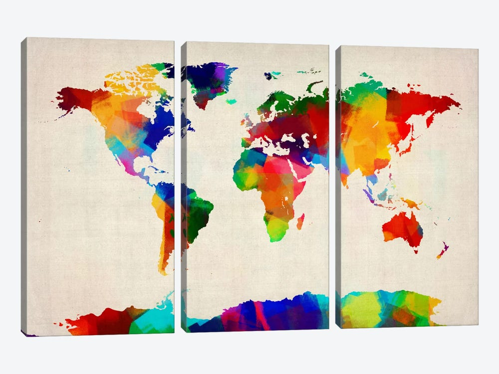 Map of the World IV by Michael Tompsett 3-piece Canvas Print