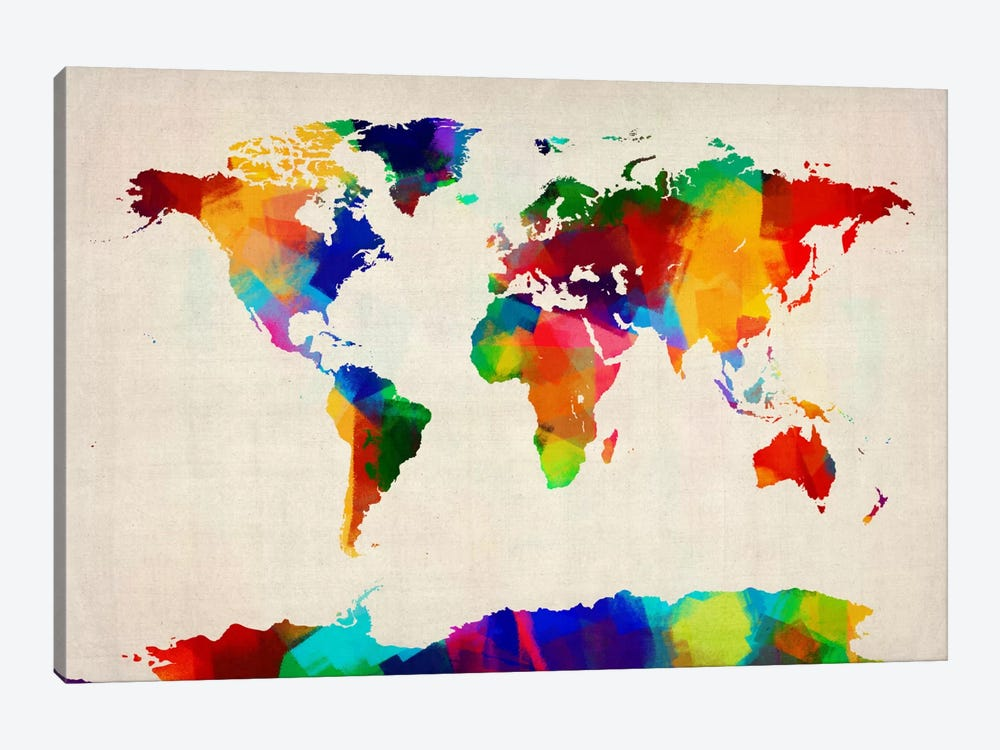 Map of the World IV by Michael Tompsett 1-piece Canvas Art Print
