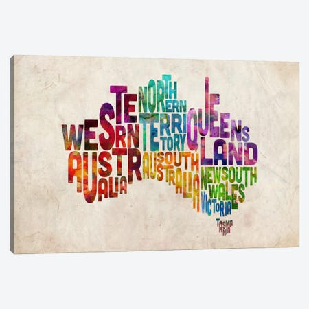 Australia Typographic Text Map Canvas Print #8791} by Michael Tompsett Canvas Artwork