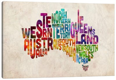 Australia Typographic Text Map Canvas Art Print