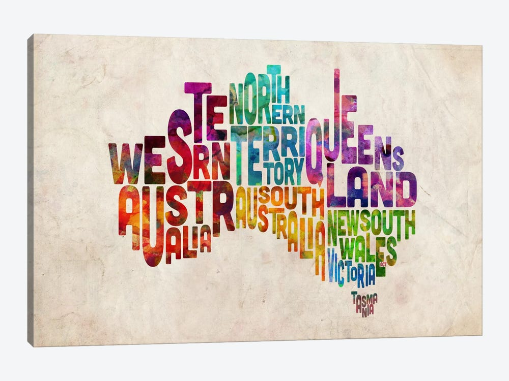 Australia Typographic Text Map by Michael Tompsett 1-piece Canvas Wall Art