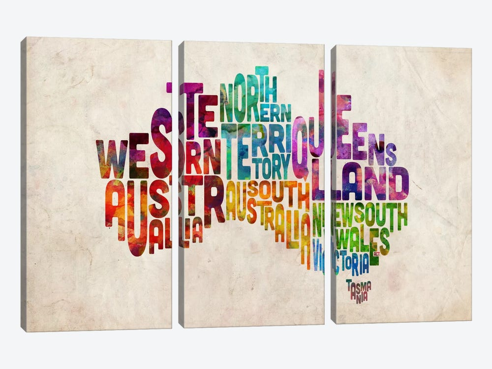 Australia Typographic Text Map by Michael Tompsett 3-piece Canvas Artwork