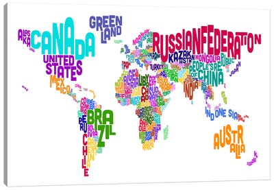 Typographic Text World Map VI Canvas Art Print