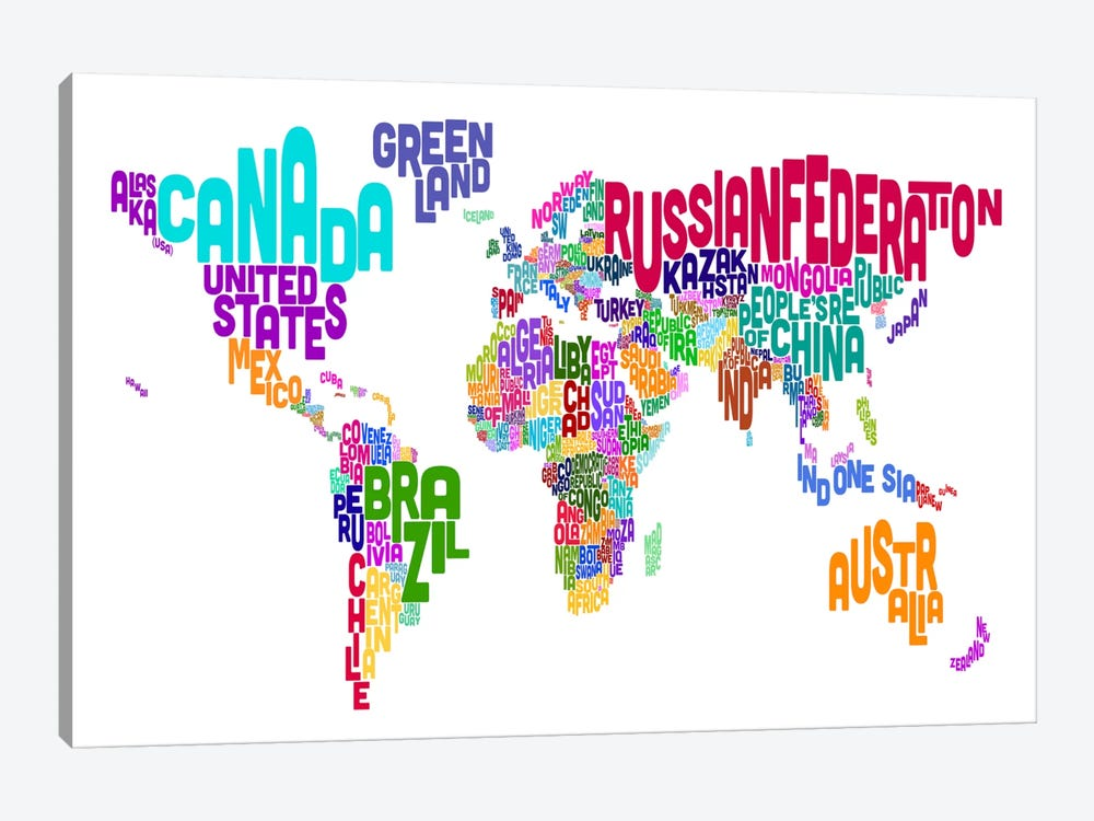 Typographic Text World Map VI by Michael Tompsett 1-piece Canvas Art Print