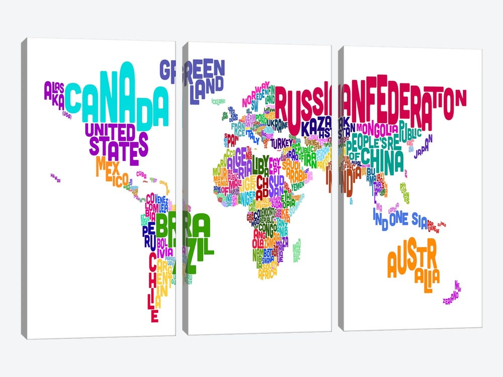 Typographic Text World Map VI by Michael Tompsett 3-piece Canvas Print