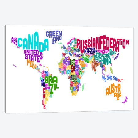 Typographic Text World Map VI Canvas Print #8792} by Michael Tompsett Canvas Art