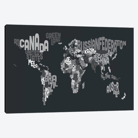 Typographic Text World Map VII Canvas Print #8793} by Michael Tompsett Canvas Art