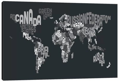 Typographic Text World Map VII Canvas Art Print