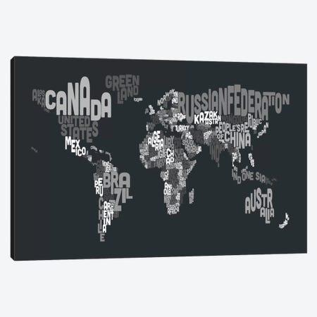 Typographic Text World Map VII Canvas Print #8793} by Michael Tompsett Canvas Art