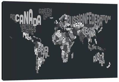 Typographic Text World Map VII Canvas Art Print