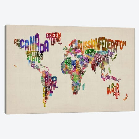 Typographic Text World Map VIII Canvas Print #8794} by Michael Tompsett Canvas Print