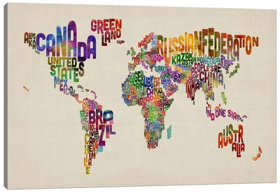 Typographic Text World Map VIII by Michael Tompsett Canvas Print