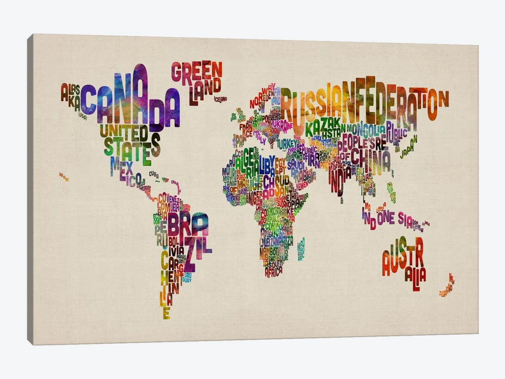 Typographic Text World Map VIII by Michael Tompsett 1-piece Canvas Art Print
