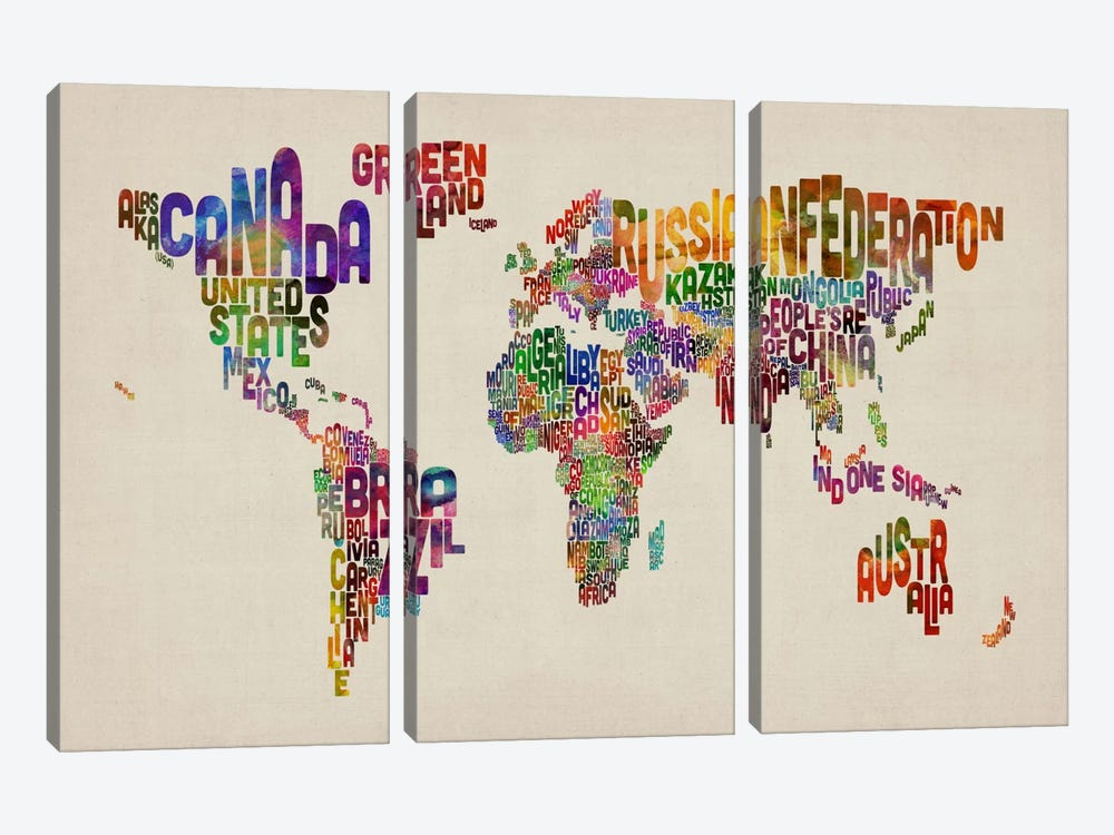 Typographic Text World Map VIII by Michael Tompsett 3-piece Canvas Print