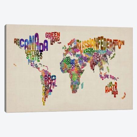 Typographic Text World Map VIII Canvas Print #8794} by Michael Tompsett Canvas Print