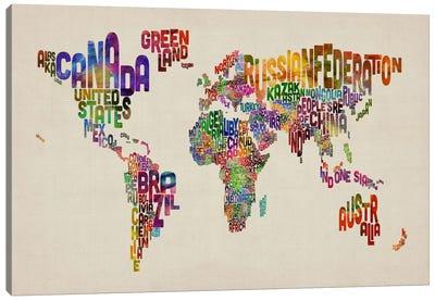 Typographic Text World Map VIII Canvas Art Print