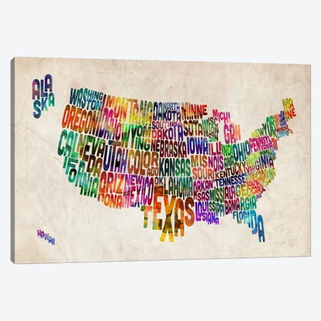 Typographic Text USA (States) Map Canvas Print #8795} by Michael Tompsett Art Print