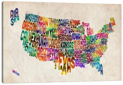 Typographic Text USA (States) Map Canvas Print #8795