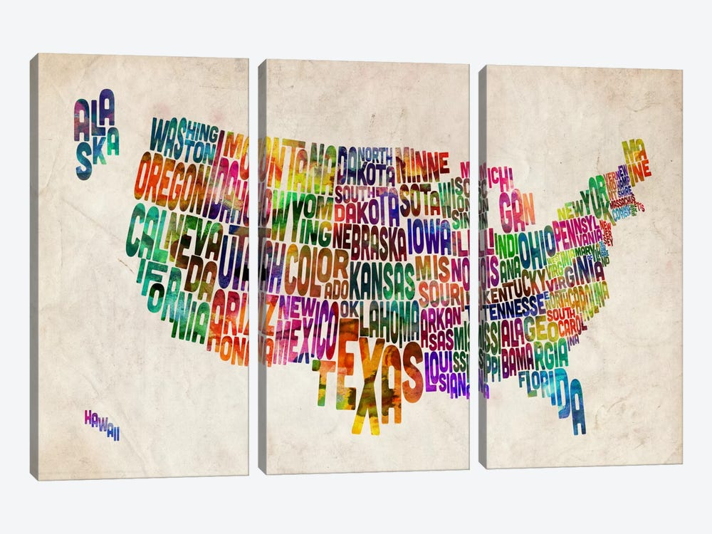 Typographic Text USA (States) Map by Michael Tompsett 3-piece Canvas Art