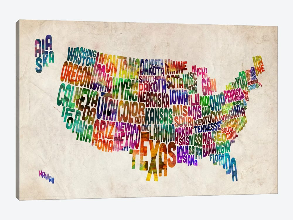 Typographic Text USA (States) Map by Michael Tompsett 1-piece Canvas Art