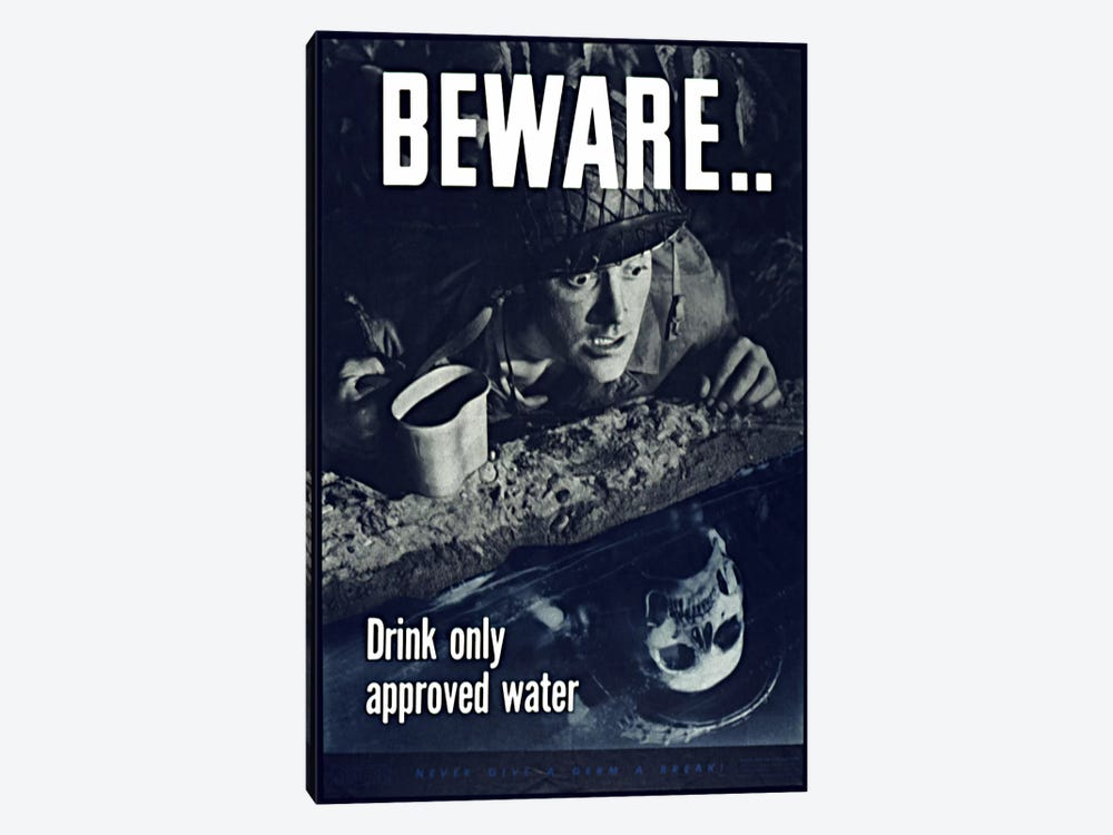 Beware: Drink Only Approved Water (WWII Vintage Poster) 1-piece Canvas Wall Art