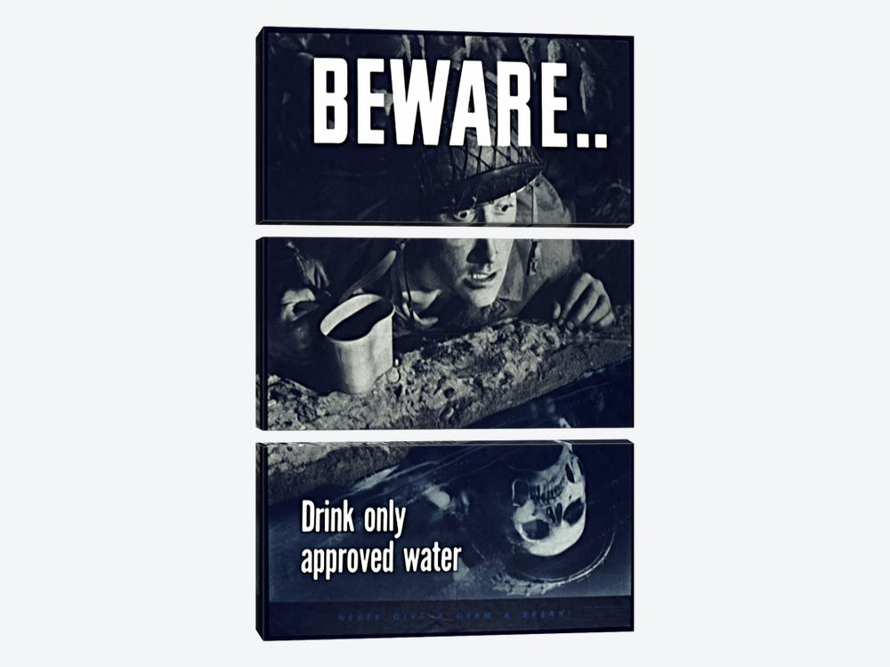 Beware: Drink Only Approved Water (WWII Vintage Poster) 3-piece Canvas Art