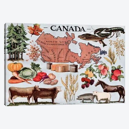 Canada's Natural Resources - Vintage Poster Canvas Print #8801} by Unknown Artist Canvas Wall Art