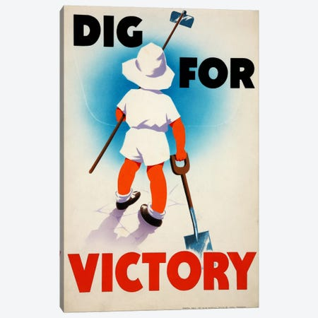 Dig for Victory (WWII) Vintage Poster Canvas Print #8804} by Unknown Artist Art Print