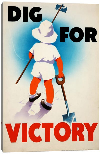 Dig for Victory (WWII) Vintage Poster Canvas Print #8804