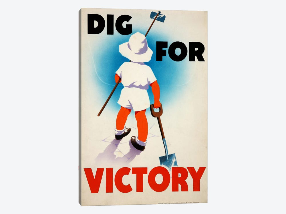 Dig for Victory (WWII) Vintage Poster by Unknown Artist 1-piece Canvas Art