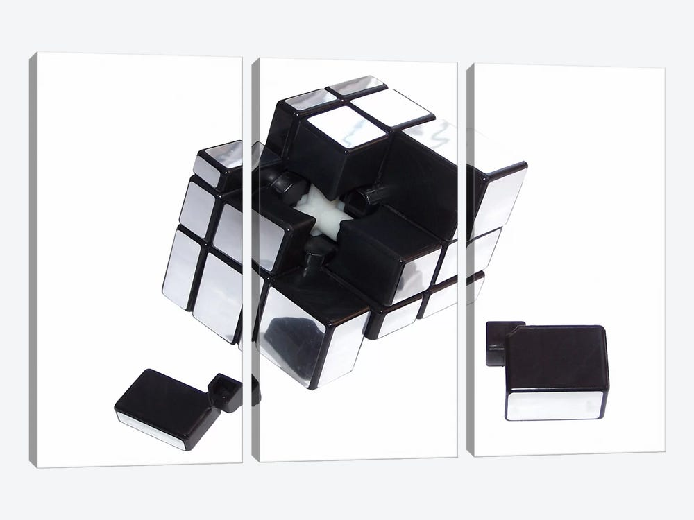 Mirror Cube Disassembled by Thomas 3-piece Canvas Wall Art