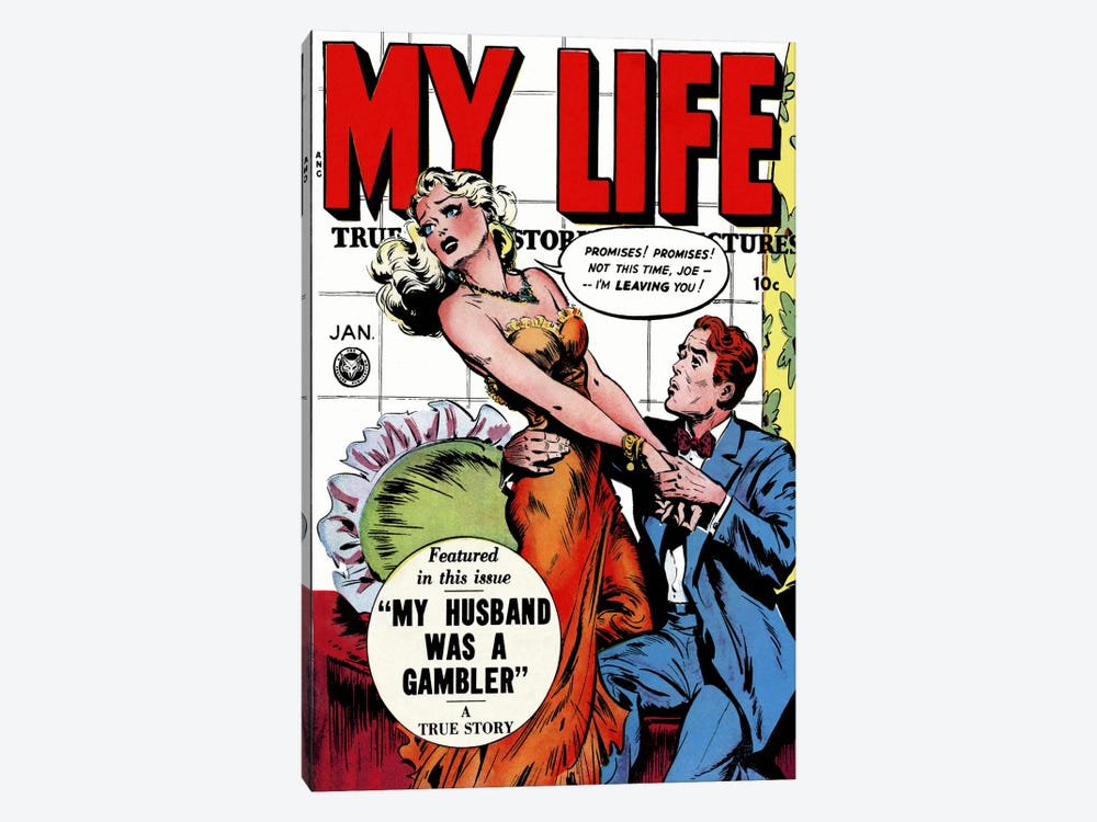 """My Husband was a Gambler"" (My Life Comic Book) - Vintage Poster by Unknown Artist 1-piece Canvas Artwork"