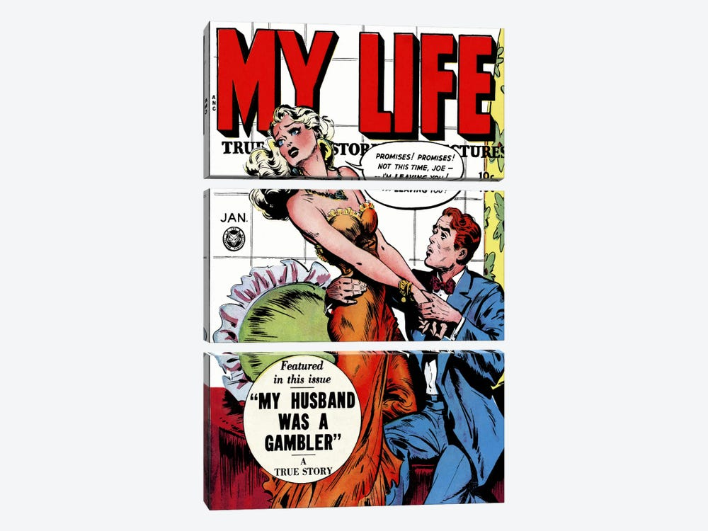 """My Husband was a Gambler"" (My Life Comic Book) - Vintage Poster 3-piece Canvas Artwork"