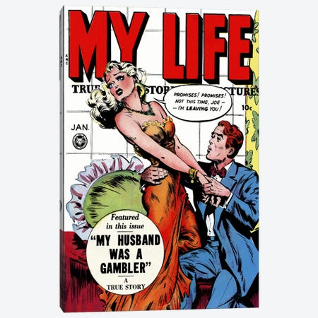 """""""My Husband was a Gambler"""" (My Life Comic Book) - Vintage Poster Canvas Print #8820} by Unknown Artist Canvas Wall Art"""