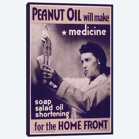Peanut Oil will make Medicine Vintage Poster Canvas Print #8823} by Unknown Artist Canvas Wall Art